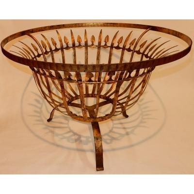 1950/70 'round Coffee Table In Golden Iron Feuilles D Or Decor Reed Leaves Diameter 74 Cm
