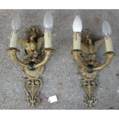 Pair Of St Empire Sconces With Eagles