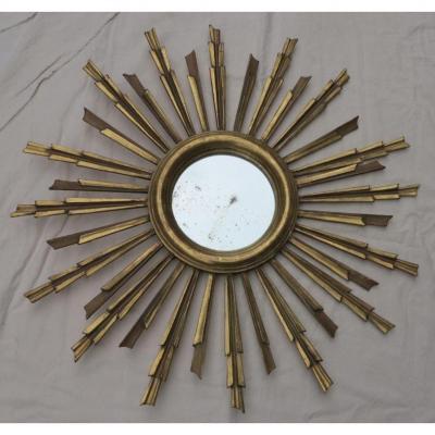 1900' Miroir Soleil Bois Doré Feuilles d'Or 81 Cm De Diamètre