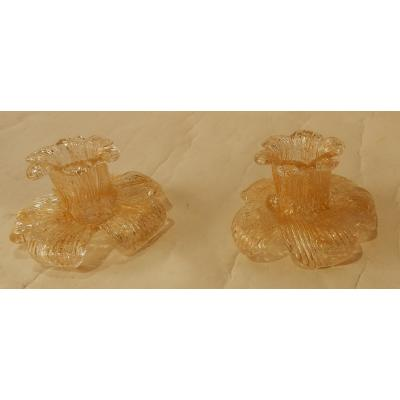 1970′ Paire De Bougeoirs Cristal Murano Style Barovier & Toso