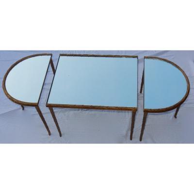 1970' Table Tripartite Maison Charles Décor Palmier En Bronze Doré Avec Plateaux Miroir