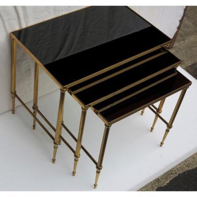 1950/70′ Série De 3 Tables Gigognes Bronze Doré Plateaux Opaline Noire