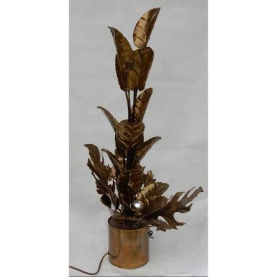 1970′ Plante Éclairante En Laiton Maison Jansen 2 Ampoules H 87 Cm