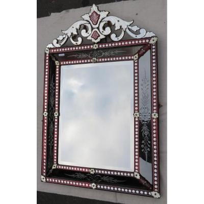 Miroir Vénitien à Fronton Style Lxiv Couleur Rouge Bohême 19ème