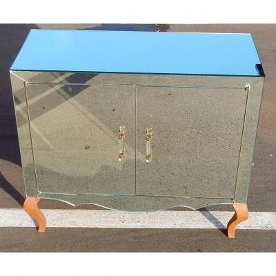 1940/50′ Buffet Art Déco Miroir 2 Portes 2 Poignées Verre