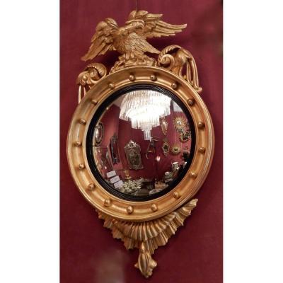 1880/1900′ Miroir Convexe à L'aigle, Bois Doré H 103 Cm