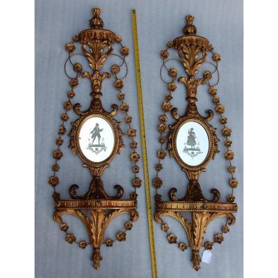 1950/70 Paire D'appliques Bois Doré Venise Romantiques Console Et Guirlandes Miroirs Gravés