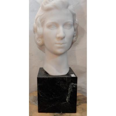 1930 'art Deco Head Of A Woman In Marble Signed By M. Di Domenico