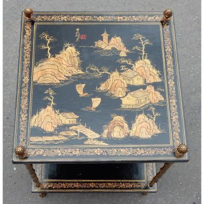 1950′ Table Maison Baguès Décor Bambou En Bronze Doré Avec Plateaux Laque De Chine 40x 0 X H59