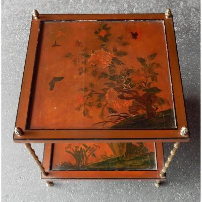 1950/70′ Bout De Canapé A Roulettes, Bronze  Plateau Laque De Chine Style Maison Baguès