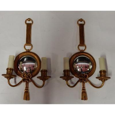 1950/70′ Paire D'appliques En Bronze Doré Avec Miroir Convexe Signée Petitot