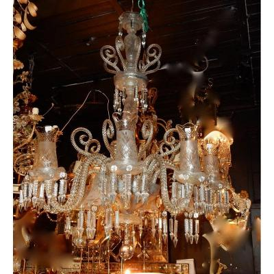 1880/1900 Baccarat Chandelier 8 Arms With Tealights And 4 With Tulips H 120 Xd 80 Cm
