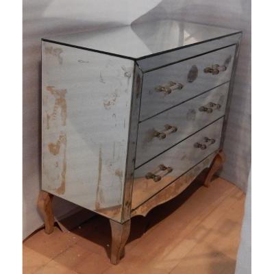 1940/50 ′ Art Deco Vintage Mirror Dresser 3 Drawers 6 Glass Handles