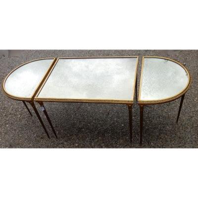 1970′ Table Tripartite Maison Charles, Jansen Ou Baguès Décor Palmier En Bronze Doré