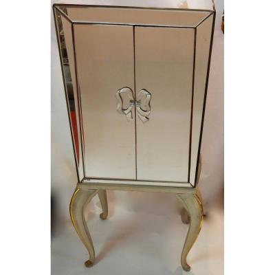 1940′ Cabinet Jansen Art Déco Orné De Miroirs