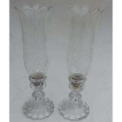 1950/70 Pair Of Crystal Candlesticks Torsions Baccarat Model Tors Signed