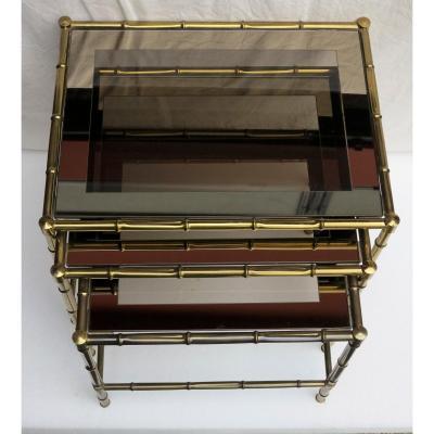 Série De 3 Tables Gigognes Adnet Jacques Bronze Doré Plateaux Cadres Miroirs Modèle Bambou