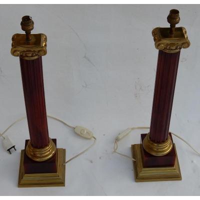 1950/70 Pair Of Maison Jansen Lamps, Brass And Bakelite, Amber Color