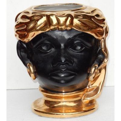 1950/70′ Cache Pot Céramique à Décor De Tête De Nubien
