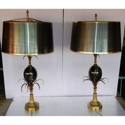 1950/70 Pair Of Lamps In Bronze And Marble Egg Portor Signed Charles