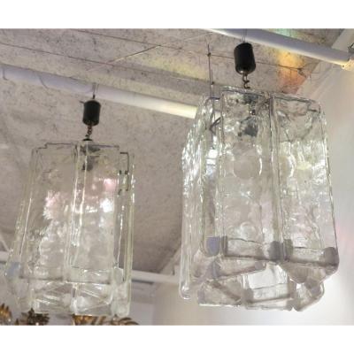 Paire De Lustres Venini En Forme De Cage Cristal De Murano 43 X 32 X H 73 Cm
