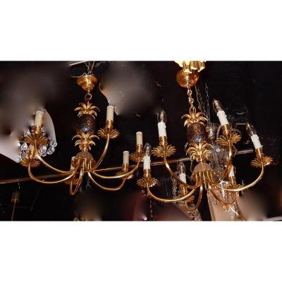 1950-70 ′ Pair Of Pineapple Chandeliers Style Maison Charles