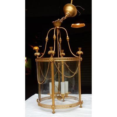 1950/60 Lantern In Gilt Bronze Style Lxiv Height: 59 Cm Diameter: 36 Cm