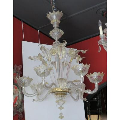 1900/20 Murano Crystal Chandelier With Gold Leaf Inclusions 6 Branches