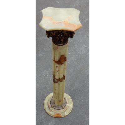 1970′ Colonne Onyx Et Bronze Doré Style Corinthien