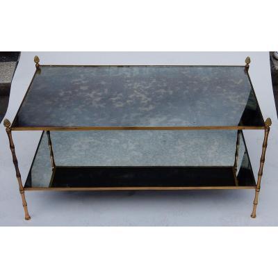 1970' Table Basse Maison Baguès Décor Bambou En Laiton Et Miroir Oxydé
