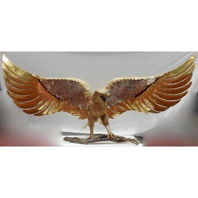 1970 ′ Eagle Lamp With Outstretched Wings In Bronze Decorated With Purple Mica Duval Brasseur Style