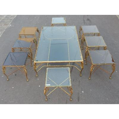 1950/70 ′ Bronze Coffee Table With Swans And Its 6 Ends Of Sofas 145 X 94 Cm