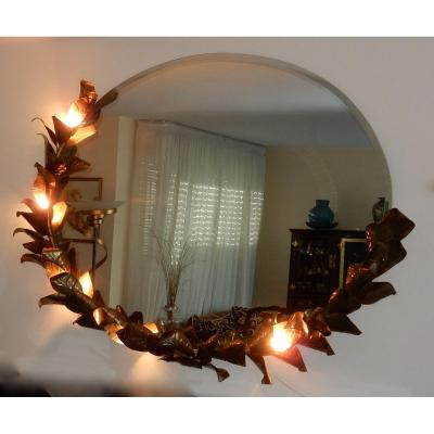 1970/80 ′ Lighting Mirror Bamboo Decor With Foliage Brasseur Style By Barbier For Jansen