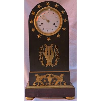 Directoire Period Clock In Bronze Double Patina With Ouroboros