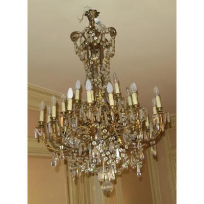 Lustre Napoléon III – 5 Bras 25 Lampes – Bronze Doré Et Cristal