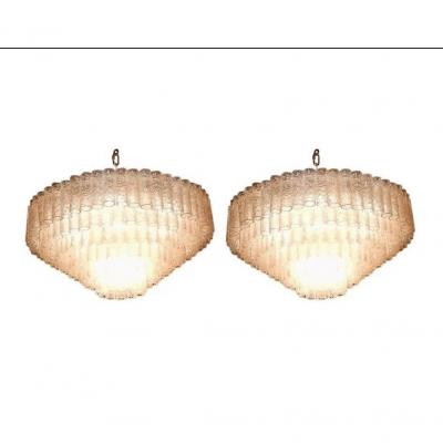 1960/70′ Paire De Lustres Venini Murano Doria Diamètre 74 Cm 6 Niveaux 194 Cristaux