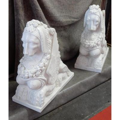 1950 ′ Pair Of Sphinges In White Statuary Marble