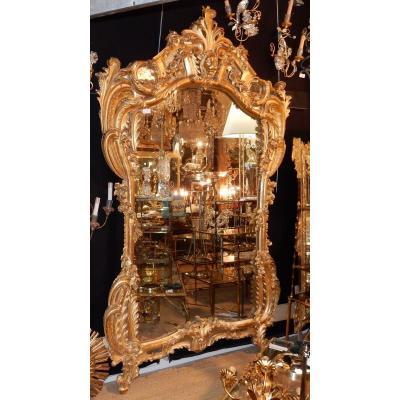 1850 ′ Louis 15 Style Mirror In Golden Wood Mercury Ice 2m40 X 1m50