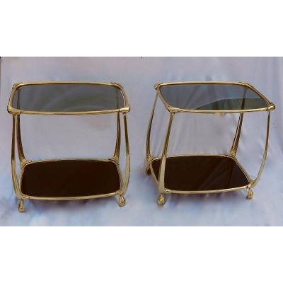 1970/80 ′ Pair Of Gilt Bronze Tables On 2 Levels Art Nouveau Style Glass And Opaline Trays