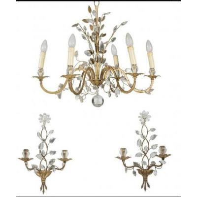 1950/70 Chandelier And Pair Of Wall Lights Maison Baguès Foliage And Flowers