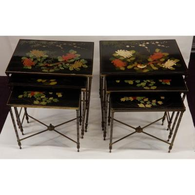 1970 'pair Of Series Of 3 Nesting Tables House Style Baguès Bamboo Decor In Gilt Bronze