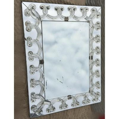 1950 'art Deco Mirror With Rinceaux Signed Lalique 65 X 86 Cm