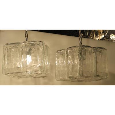 1970′ Paire De Lustres Ou Lanternes Par Fratelli En Forme De Cage Cristal De Murano