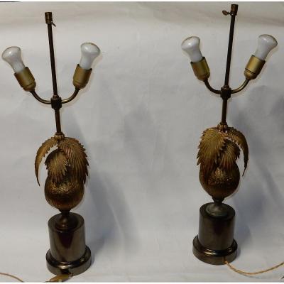 1970′ Paire De Lampes Cocotier Avec Noix De Coco Dlg Maison Jansen Ou Charles Non Signées