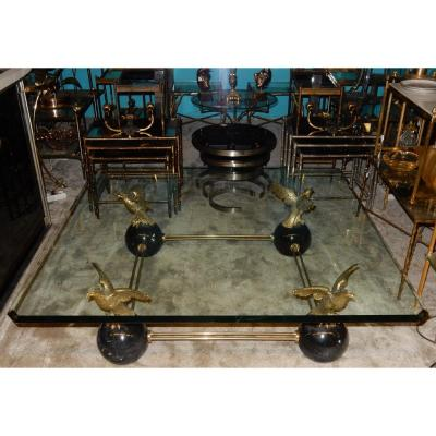 1970 ′ Coffee Table With Eagles Style Maison Charles, Jansen Or Baguès 131 X 131 Cm