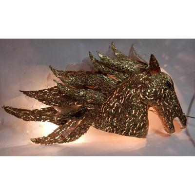 1990' Applique Éclairante Tête De Cheval En Bronze Doré Et Gypse Style Duval Brasseur
