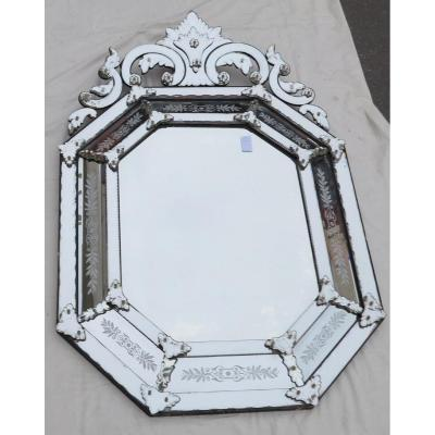 Venice Octagonal Mirror With Mercury Tain Fronton With Engraved Flowers