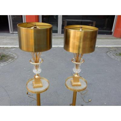 1950-70' Paire De Lampes Vases Medicis En Cristal Et Bronze Style Maison Charles