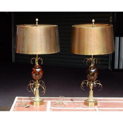 1950/70 Pair Of Lamps In Bronze And Egg In Fractable Resin Signed Charles