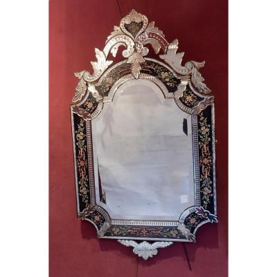 1880/1900 'napoleon III Mirror With Pediment, Blue Glass Frame Decorated With Enamelled Flowers St Lxiv